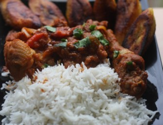 Evoking memories of Ghana Chicken Stew with Rice