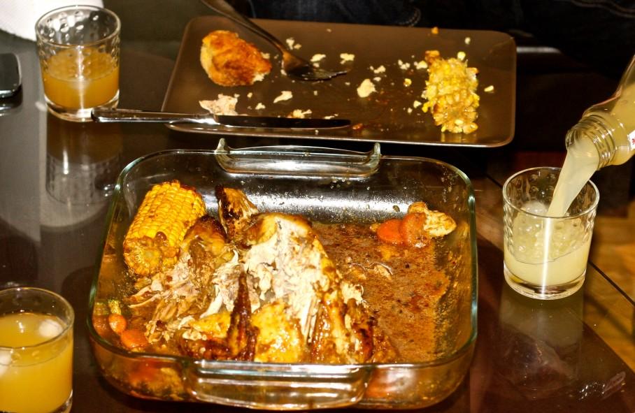 roast guinea fowl with yam