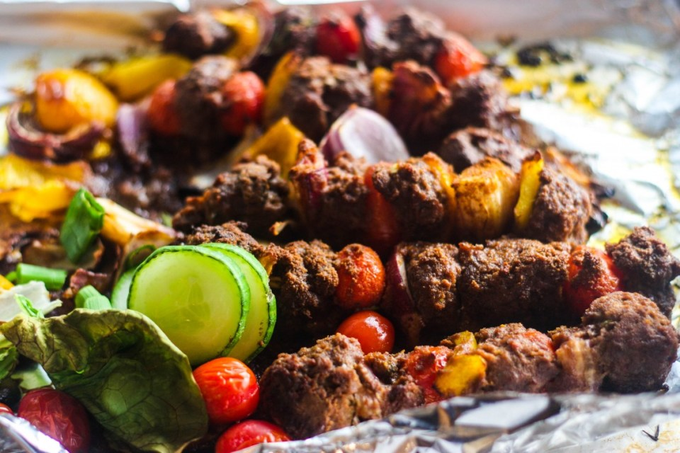 Suya beef kebab with Irio and Salatu Niebe