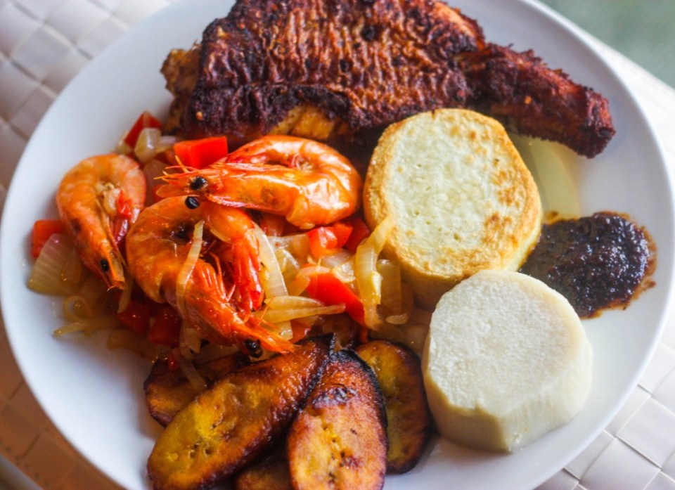 Grilled prawns and fish with yam and plantain