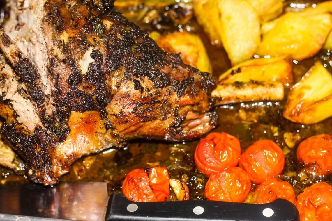 Slow roast Ras El Hanout spiced leg of lamb