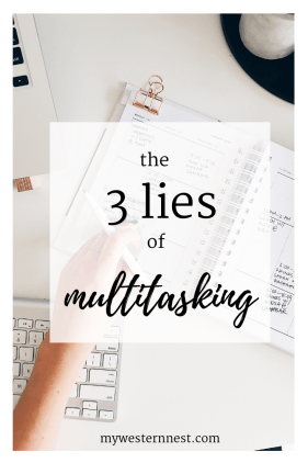 The Three Lies of Multitasking: how doing too much can't make us supermom, just super tired. #momlife