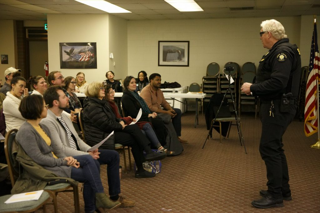 King County Sheriff's Office Precinct 4 Operations Captain Rick Bridges gives a report at Skyway VFW Post #9430 on January 15th, 2019 for WHCA's Winter Quarterly Community Meeting.