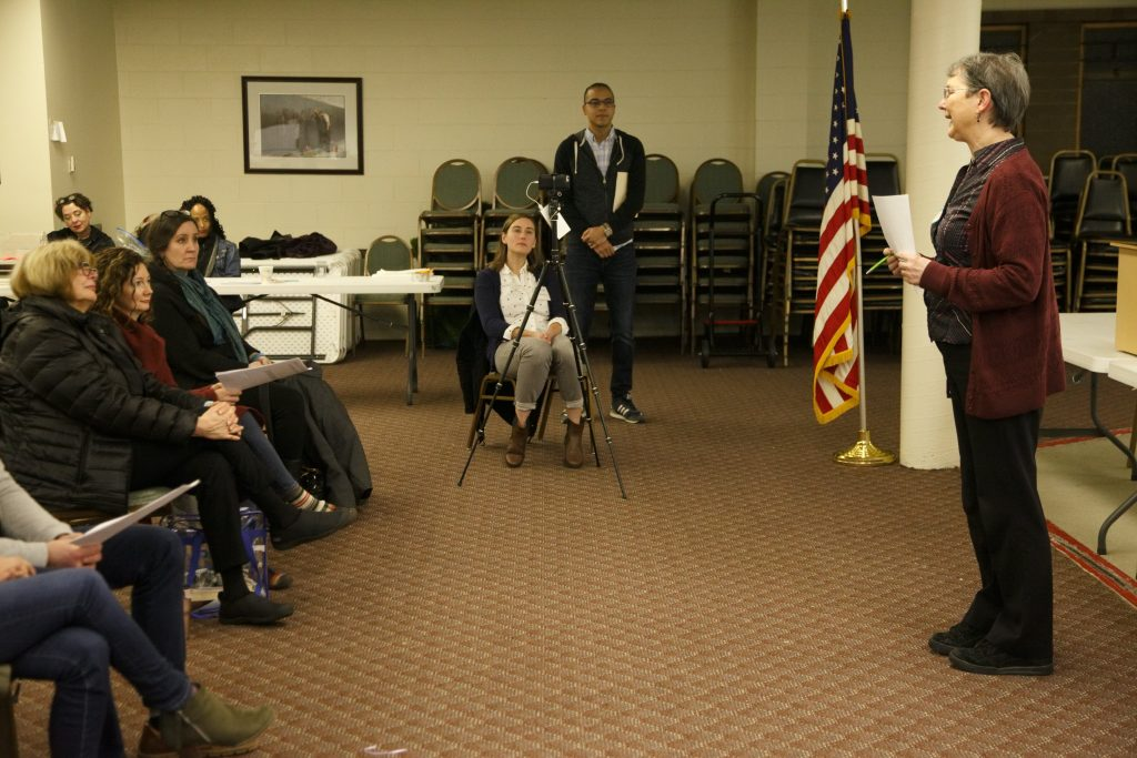 Friends of Skyway Library's Kathleen Sidwell gives a report at Skyway VFW Post #9430 on January 15th, 2019 for WHCA's Winter Quarterly Community Meeting.