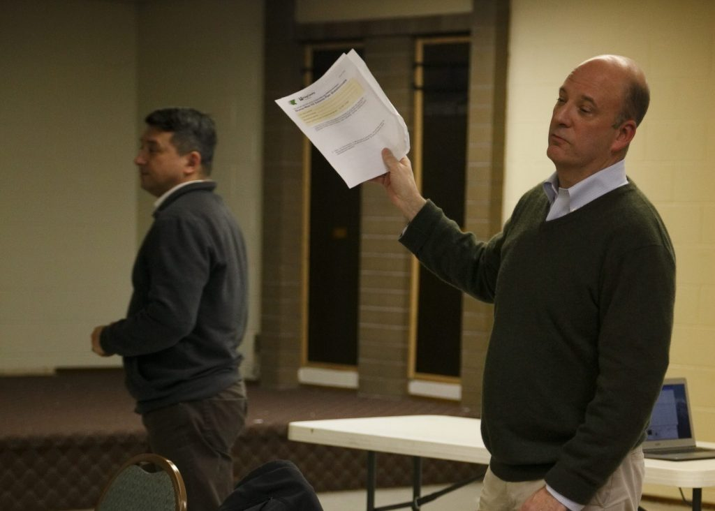 King County Department of Local Services (DLS) Communications Manager Jerry Pionk (left) and Director John Taylor (right) discuss the West Hill Subarea Plan at Skyway VFW Post #9430 on January 15th, 2019 for WHCA's Winter Quarterly Community Meeting.