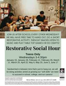 CANCELED: Restorative Social Hour @ Skyway Library | Seattle | Washington | United States