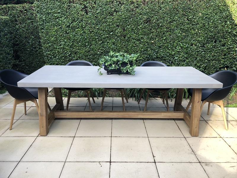 veltis outdoor dining setting 8 seater industrial polished cement table top