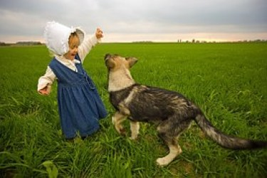 NOTHING girl with dog and bonnet
