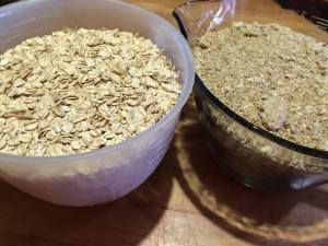 granola ingredients in 2 containers