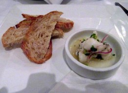 Halibut ceviche with Pugliese Toast points served with Tyrrells Vat 1 Semillon 2004