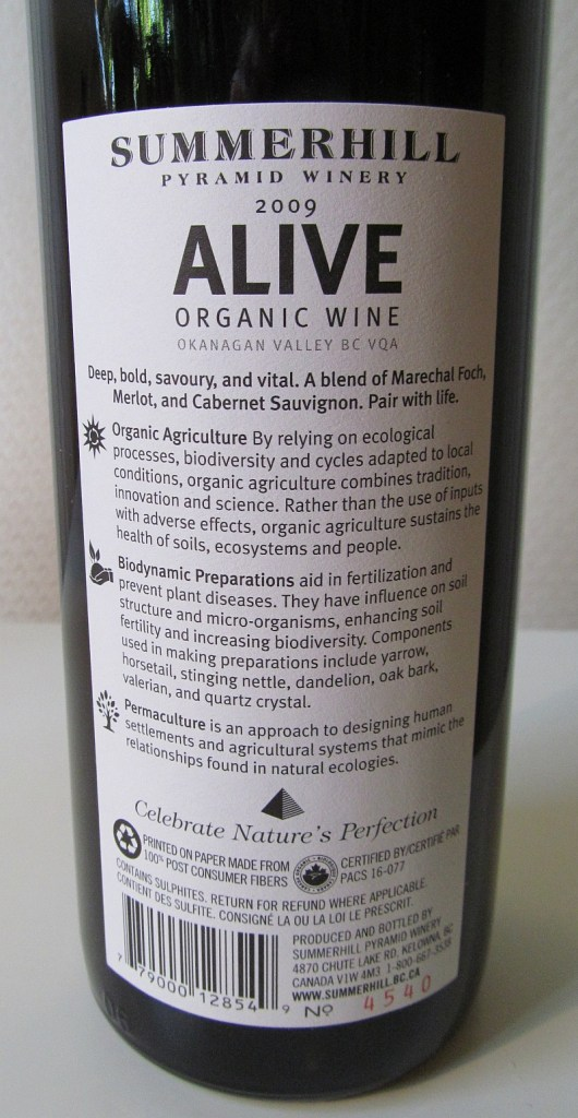 ALIVE Organic Red wine back label