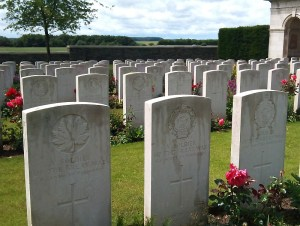 Rows of headstones in a soldiers cemetary