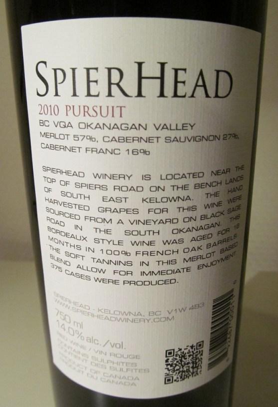 Spierhead Pursuit 2010 back label