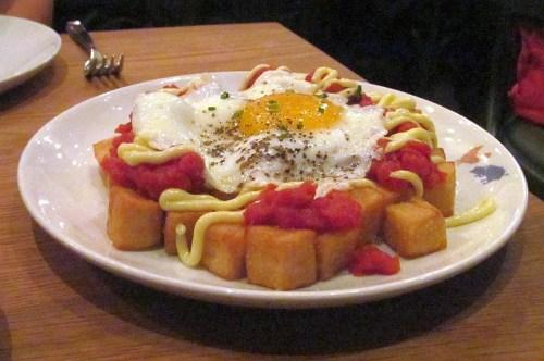 Patatas Bravas with fried egg