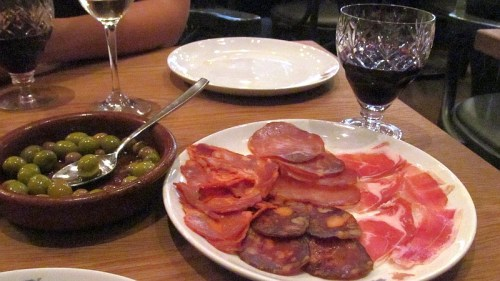 Selection of Spanish hams and sausages
