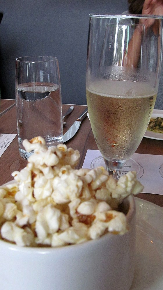 Truffled popcorn with Blue Mountain Gold Label Brut