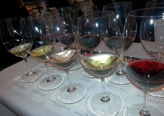 Iconic French wines in glasses