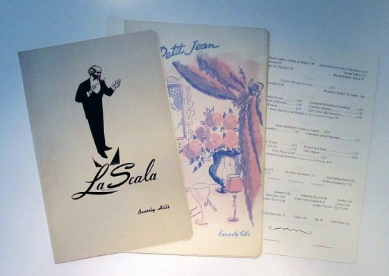 Menu from the La Scala Restaurant