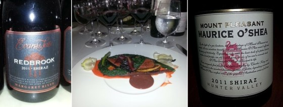 Coffee and Cocoa Crusted Venison Loin together with Red Brook and Maurice O'Shea Shiraz