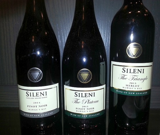 Sileni Cellar Selection Pinot Noir 2014 The Plateau Pinot Noir 2013 and The Triangle Merlot 2013