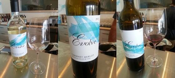 Evolve Cellars Gewurztraminer Cabernet Merlot and Pinot Noir
