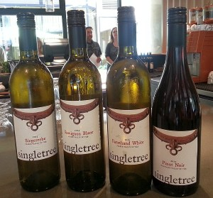 Flight of Singtree Winery wines