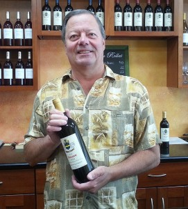 Winemaker Mike with a bottle of his Chateau Rollat Edouard