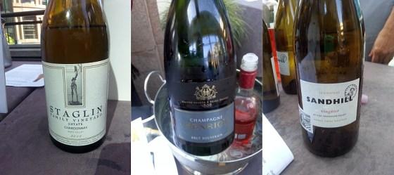 Staglin Family Vineyard Estate Chardonnay, Champagne Henriot Blanc de Blancs, and Sandhill Wines Viognier