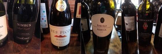 Vina Casablanca Nimbus Single Vineyard Pinot Noir, Bodegas Borsao Tres Picos Garnacha, Batasiolo Barolo Riserva, San Felice Brunello di Montalcino Campogiovanni