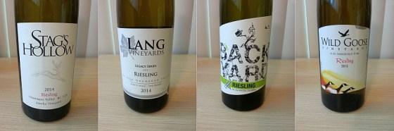 Stags Hollow, Lang Vineyards Legacy Series, Backyard, and Wild Goose Vineyards Riesling
