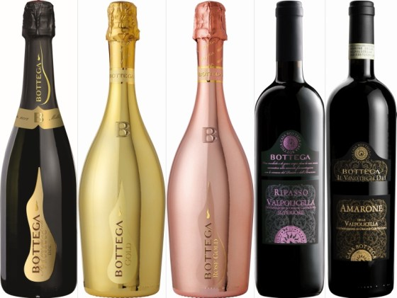 Bottega S.p.A. il Vino dei Poeti, Gold, and Rose Gold Proseccos, and Ripasso and Amarone