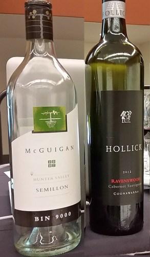 McGuigan Bin 9000 Semillon 2007 and Hollick Ravenswood Cabernet Sauvignon 2012