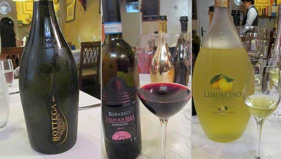 Bottega Prosecco Spumante Extra Dry, Valpolicella Ripasso Superiore, and Limoncello