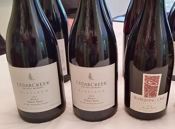 CedarCreek and Burrowing Owl Pinot Noir wines