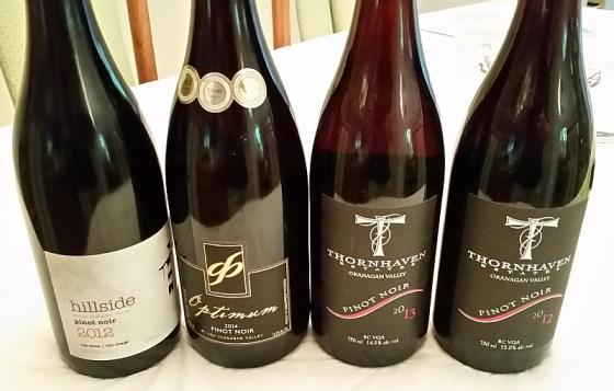 Hillside, Gehringer Brothers, and Thornhaven Pinot Noir wines