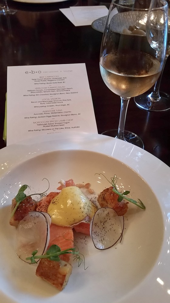 Local salmon with Hollandaise sauce and Inniskillin Pinot Grigio at ebo restaurant