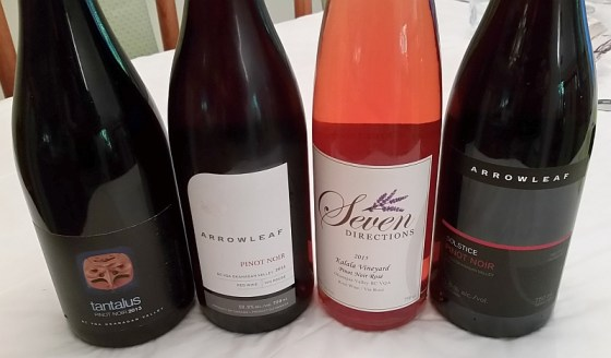 Tantalus, Arrowleaf, and Seven Directions Pinot Noir wines