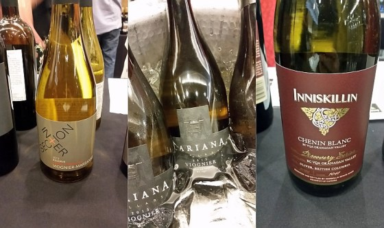 Intersection Reserve Viognier Marsanne, Inniskillin Discovery Series Chenin Blanc, and Lariana Cellars Viognier wines