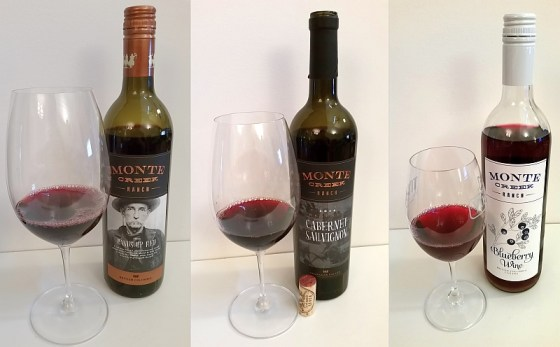 Monte Creek Ranch Hands Up Red, Cabernet Sauvignon Reserve, and Blueberry wines