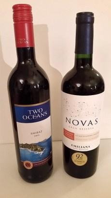 Emiliana Novas Carmenere/Cabernet Sauvignon and Two Oceans Shiraz