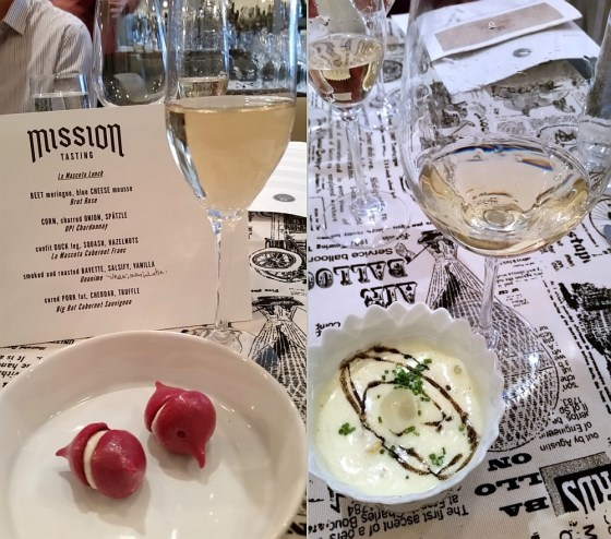 Beet meringue with blue cheese mousse and the Roasted corn, charred onion, and spatzle dishes