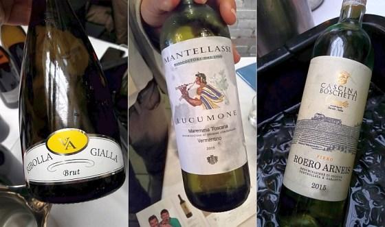 Wine Company Riobolla Gialla, Brut Cascina Boschetti Gomba Roero Arneis DOCG Fiero and Fattoria Mantellassi Lucumone