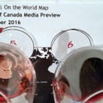 Canada on the World Map with wine glasses