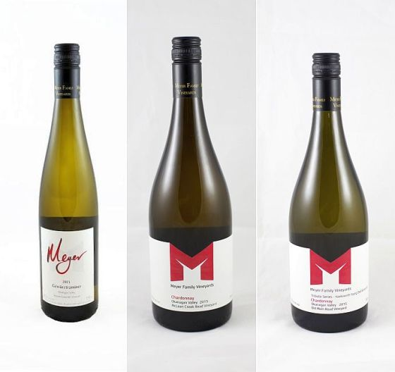 Meyer Family Vineyards Gewurztraminer McLean Creek Road Chardonnay and Tribute Series Chardonnay