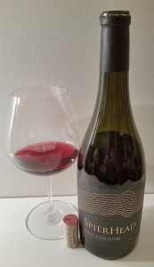 SpierHead Pinot Noir Cuvee 2015 with wine in glass
