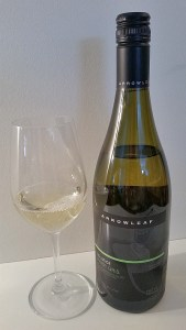 Arrowleaf Solstice Pinot Gris 2015 with wine in glass