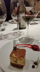 Gruyere cheesecake paired with Culmina 2014 Cabernet Sauvignon at Ancora