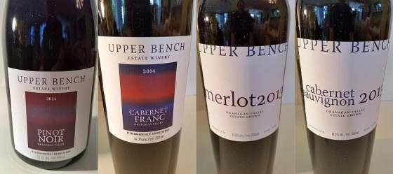 Upper Bench Pinot Noir, Cabernet Franc, Merlot, and Cabernet Sauvignon red wines