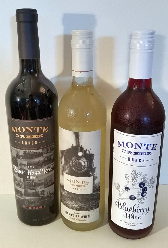 Monte Creek Ranch Winery Ranch Hand Red, Hands Up White and Blueberry wines