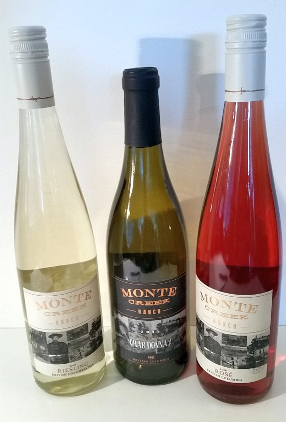 Monte Creek Ranch Winery Riesling, Reserve Chardonnay, and Rose wines